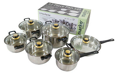 12 PC Stainless Steel Saucepan Pan Pot Set Cookware Glass Lidded Kitchen Cooking