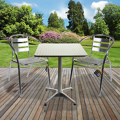 Aluminium Lightweight Chrome Bistro Sets Square Table Chair Patio Garden Outdoor