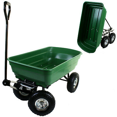 75L Garden Dump Cart Wheelbarrow Truck Tipper Trolley Green Trailer Wheels