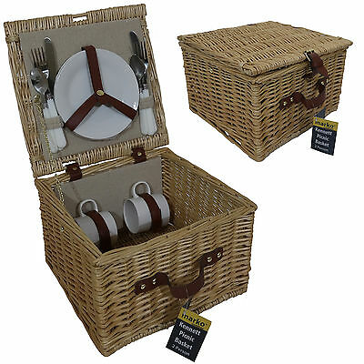 Luxury 2 Person Picnic Willow Wicker Basket Hamper Food Cutlery Camping Outdoor