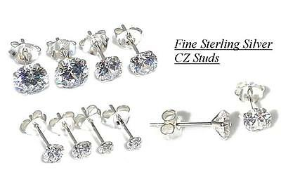 925 Sterling Silver CZ Clear Round Stud Earrings for Girls & men 3mm-8mm