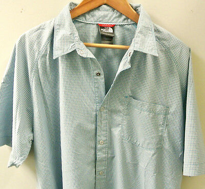 9d5cd6179 THE NORTH FACE Men's Blue/Green/Gray Checked Short-Sleeve Hiking Shirt  Large L