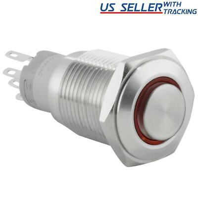 16mm 12V LED Momentary Push Button Stainless Steel Power Switch, Red
