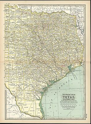 Eastern Texas 1898 antique color lithograph map