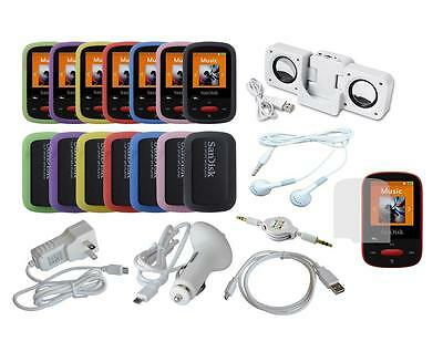 Lot 14 Item Accessory Bundle Combo Kit Set for Sandisk Sansa Clip Sport (SDMX24)