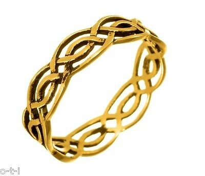 14K Yellow Gold Mens Or Womens Infinity Celtic Ring 925 Genuine Sterling Silver