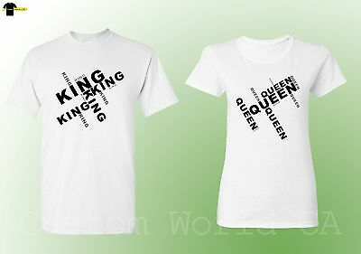 King  QUEEN  Couple T Shirts Matching Tees His and Hers New Design (White)
