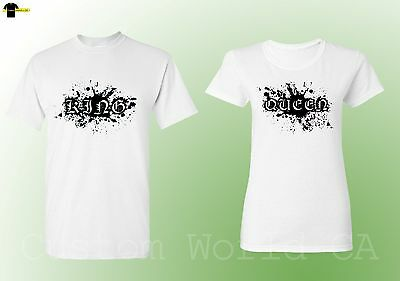 Couple Shirts Queen and King Matching Tees His and Hers Love New Design (White)