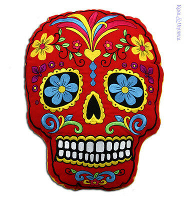 Fantastic Mexican Day of the Dead RED SUGAR SKULL Cushion