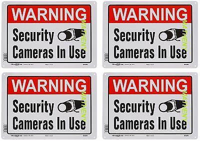 Lot of 4 Warning Security Cameras In Use ~ Home Video Surveillance Aluminum Sign