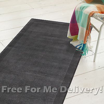 THICK HANDLOOMED NZ WOOL CHARCOAL MODERN FLOOR RUNNER 80x400cm **FREE DELIVERY**