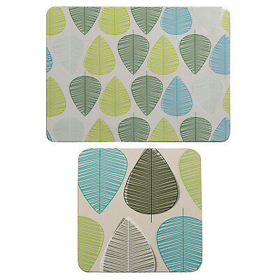 Premier Housewares 8Pc Green Leaf Design Cork Dining Coaster And Placemat Set