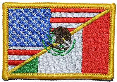 Mexican/USA Flag 2x3 Military/Morale Patch with Hook Fastener - Multiple Colors