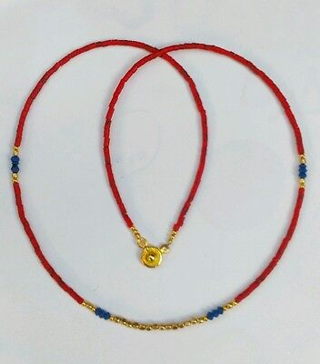 Afghan Natural Coral, Lapis, Gold Plated Tiny Seed Beads Necklace Vintage Gypsy