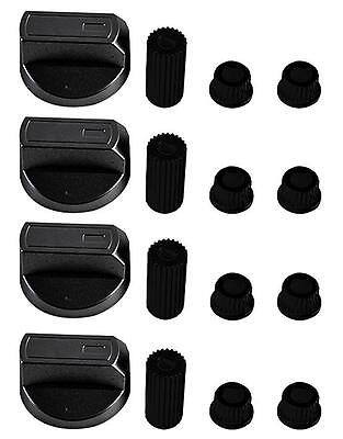 4 X Universal KENWOOD Cooker/Oven/Grill Control Knob And Adaptors BLACK