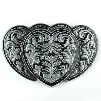 Western Triple Hearts Girly Flower Antique Silver Color Belt Buckle