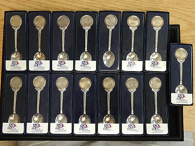 US Mint 50 State Quarter Spoons - Lot Of 15 Pieces
