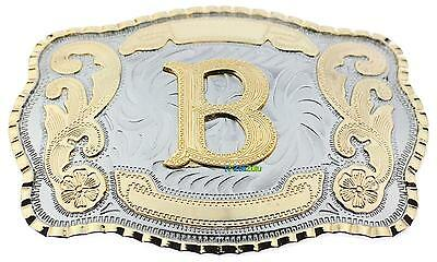 "Initial Letter ""B"" Western Extra Large Rodeo Cowboy Belt Buckle"