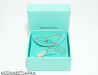 Authentic Tiffany & Co. Sterling silver oval pendant necklace