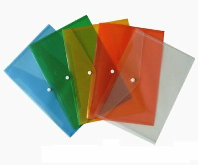 Document Wallet Folder Plastic A4 Popper Stud Closing Hard Wearing Asoorted-0262