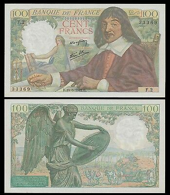 France 100 Francs DESCARTES 15.5.1942 P 101 UNC