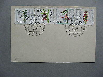 GERMANY BERLIN, card FDC 1984, flower orchid