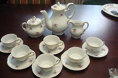 Zsolnay PECS Coffee set 15 pcs, 6 cups/saucers, teapot,sugar & creamer '40s[*70]