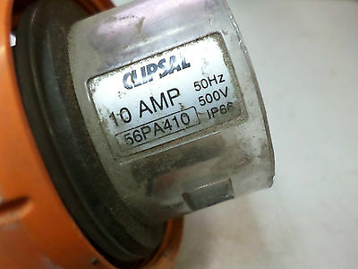 CLIPSAL 3 PHASE ANGLED PLUG -- 10 AMP 4 PIN -- 56PA410 -- Good Condition