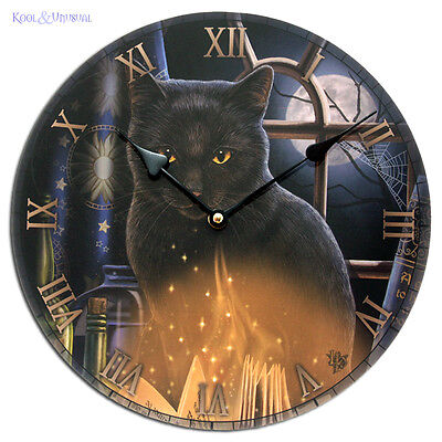 """Lisa Parker 30cm Round Wall Clock: """"Bewitched"""" Black Cat Wicca Pagan"""