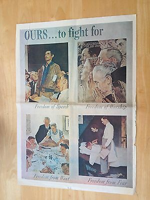WW11 Poster - OURS TO FIGHT FOR - FREEDOM OF SPEECH, WORSHIP, WANT AND FEAR