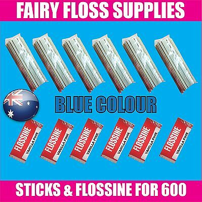 FAIRY FLOSS STICKS & BLUE FLOSSINE - 600 pack - Suit all machines - Buy Direct