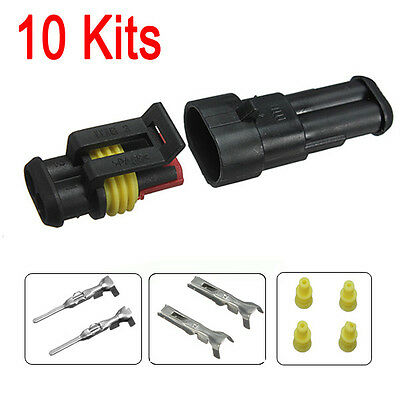 10Kits 2Pin Waterproof Electrical Wire Connector Plug Terminals Fits For Vehicle