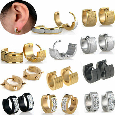 2PCs Men Women Cuff Huggie Hoop Earrings Surgical Stainless Steel Crystal Studs