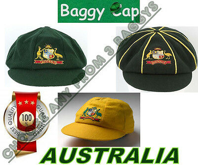 Choose any 1 from 3 AUSTRALIAN BAGGY CAPS Green~Retro Style~Yellow Baggy Cricket