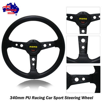 New 340mm Tuning BLACK Sport Steering Wheel with Horn Button