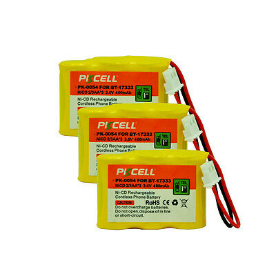 3PC Cordless Phone Battery Replacement NiCd 2/3AA 400mAh 3.6V for VTech BT-17333