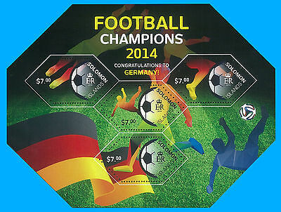 Solomon Islands Stamp, 2014 INT1419 Football Champions 2014 Germany, Soccer