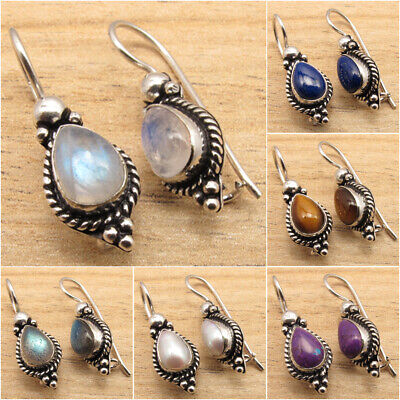 925 Silver Plated Rainbow Moonstone & Other Gemstone OXIDIZED Earrings