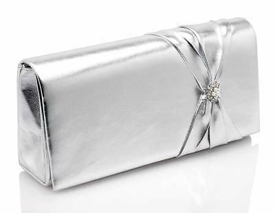Silver Wedding Bridal Bridesmaid Prom Evening Hand Clutch Bag Style Amaryllis