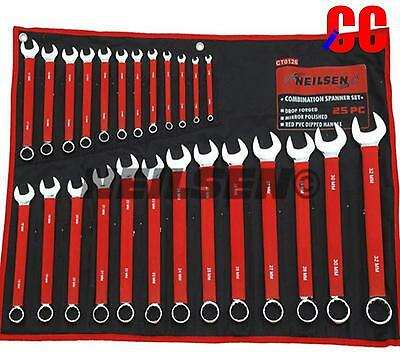 25PC QUALITY PRO dipped COMBINATION SPANNER SET METRIC 6mm - 32mm in tool roll