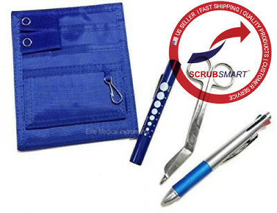 NEW Nurse Nylon Pocket Organizer Kit Medical Penlight Lister Scissor Pen - Royal