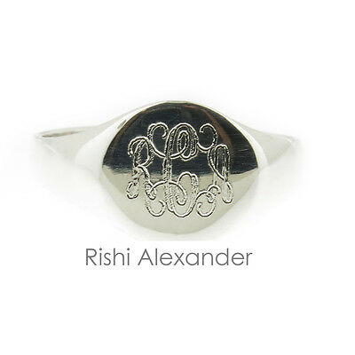 925 Sterling Silver Signet Monogram Ring Baby or Child Sizes