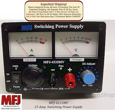 """MFJ 4225MV - 25 Amp Switching Power Supply, 9-15 Volts, Large 3"""" Dual Meters NEW"""