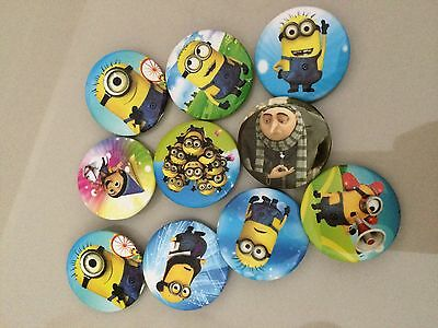 5pcs DESPICABLE ME 30mm Plastic Badge Brooch Pin Birthday Party Lolly Bag Gift