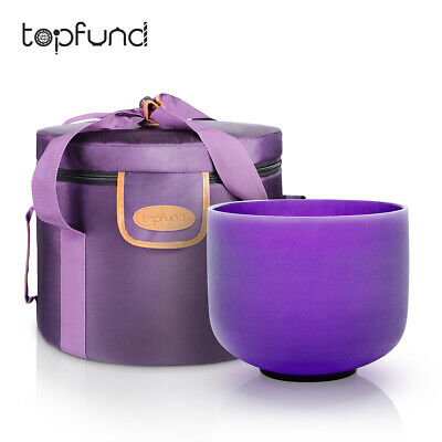 TOPFUND® Frosted A Third Eye Chakra Quartz Crystal Singing Bowl 12 ""