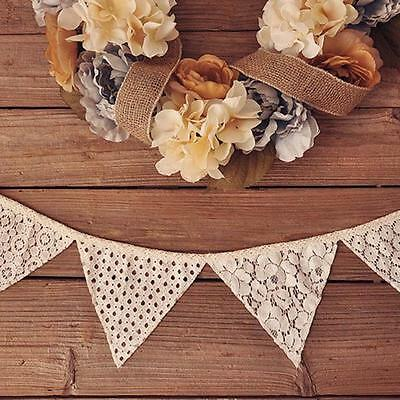 Romantic Vintage Shabby Ivory Lace Banner Flag Garlands Wedding Party Decoration