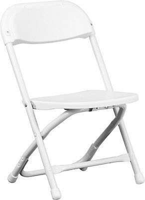Lot of 50 Kids Size White Plastic Seat & Back Steel Frame Folding School Chairs