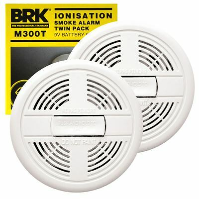 2 X Brk Kitemark Smoke Detectors Fire Alarm Ionisation Batteries Included