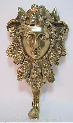 Vintage Large Brass Art Nouveau Style Figural Hook Hanger Bracket high relief