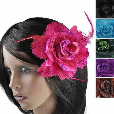 Large Cheap Corsage Lace Feather Flower Hair Clip Facinator Brooch Elastic